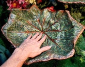 "Asian Mayapple birdbath / feeder / garden sculpture - Leaf #1599B, 16x13"" - install anywhere in garden, stands over flowers or can be hung"