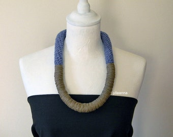 Wool necklace - Big necklace - Chunky necklace - Winter jewelry - Statement necklace - Denim blue, taupe. Gift for woman.