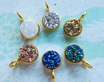 Petite Bezel Druzy Drusy Pendant Charm, 8 mm, choose color, Sterling Silver or 24k Gold, ap31.2 dr gcp8