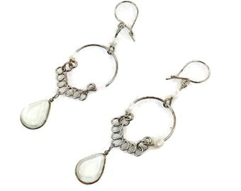 Gypsy Earrings, Peruvian Jewelry, Silver Earrings, Ethnic Earrings, Pierced Dangles, Long Earrings, White Earrings, Boho Bohemian