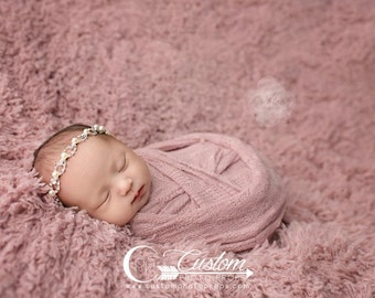 RTS VeGan Faux Fur Newborn Photo Props, SuPeR SiZe Peaceful Pink Fur Flooring Newborn Girl Photo Props, Artificial Fur Photography Props,