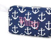 Monogrammed Accessory Bag - Navy Anchor Print