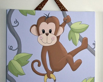 Monkey Stretched Canvas Children's Bedroom Wall Art CS0028