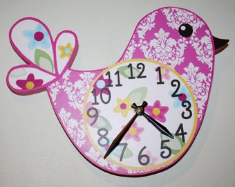 Pretty Lil Birdie Hot Pink Damask Wooden Wall Clock for Girls Bedroom Baby Nursery to Match Many Bird Bedding Themes WC0005