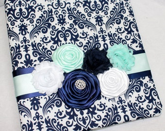 Wedding MEMORY Book, Navy and Mint Guest Book, Bridal Keepsake Book, Navy and Mint Wedding, Navy and Mint Bridal Shower, Navy Damask, Custom