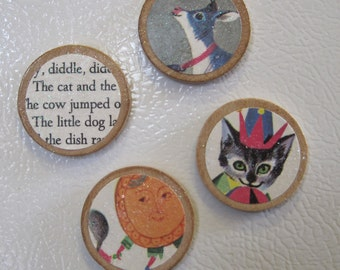 Set of 4 Vintage Style Circle Wooden Magnets Hey Diddle Diddle