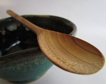 Ecohardwoods BEAUTIFUL carved apricot tasting spoon/baby spoon