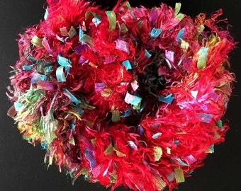 Great Adirondack Yarn | Ribbon & Fluff | Red Chili Pepper | Art Multi Strand Yarn Rayon Nylon Poly Playful Colorful Red Pink Half Price SALE