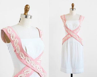 vintage 1950s dress / Lilli Diamond dress / White and Pink Linen Wiggle Dress with Lace and Rhinestones