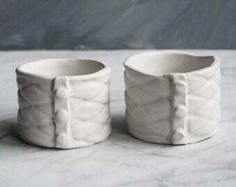 White Ramekins Handmade Pair of Ceramic Stoneware Bowls SALE Ready to Ship Made in USA