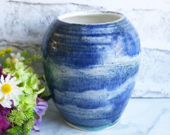 Large Ceramic Vase with Textured Rustic Blue Glaze Handcrafted Pottery Vase Artfully Crafted Made in USA Ready to Ship