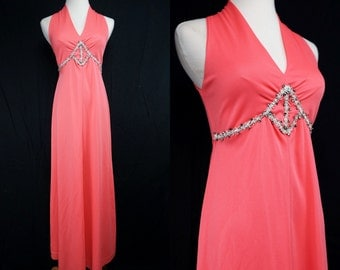 1960s Pink Maxi Dress Jeweled Bodice Goddess Empire Waist Sleeveless Evening Gown Medium