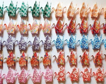 100 Small Origami Cranes Origami Paper Cranes Paper Crane - Made of 7.5cm 3 inches Japanese Chiyogami Paper