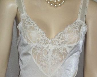 ON SALE Vintage Olga Full Slip Chemise Nightgown Lace Heart Inset Style 13025 34