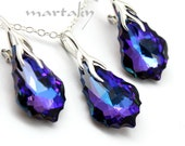 Violet Purple Jewelry Set,Baroque 22mm Heliotrope Swarovski Crystal,Sterling Necklace Earrings,Peacock Bridal Bridesmaids Wedding Jewelry