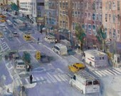 39st View of  New York City Street - Horizontal -  Giclee or Art Print  from Original Watercolor - Den - Watercolor lovers