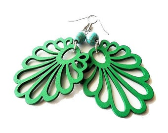 Green Wooden Earrings with Turquoise Beads