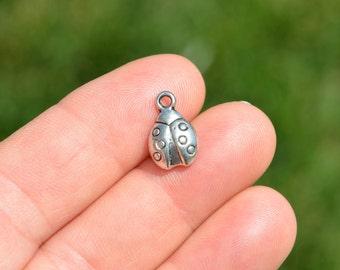5  Silver Ladybug Charms SC1059