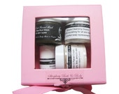 Mini Facial Gift Set includes 4 trial size products - cleansing grains, dead sea mud mask, facial cream, micellar water