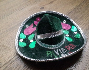 Vintage  Emerald Green Mini Sombrero For Pet
