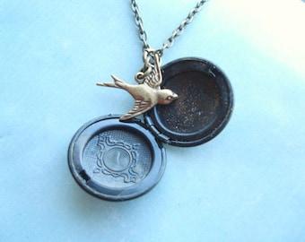 Bird Locket Brass Locket Necklace Golden Bird Necklace Bird Jewelry Gift For Her Gift for Girlfriend Gift