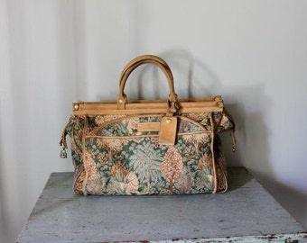 vintage leather and tapestry weekender bag / large tapestry tote bag