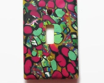 Electric Switchplate, Toggle Switch Plate, Single Switch Cover, Cranberry and Green