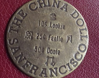 Vintage Antiqued Brass Brothel Token-The China Doll - (Prices reflect 50% off special)