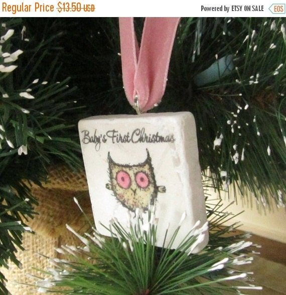 CHRISTMASINJULY Baby's First Christmas Ornament - Holiday Keepsake - Little Pink Owl Design - Gift Box