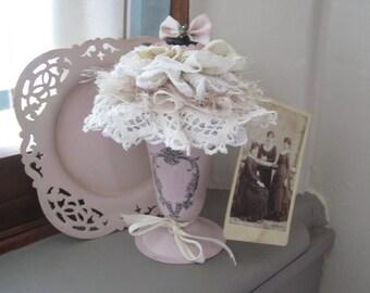 Chalk Painted Pink Vase - Shabby Chic Vase - Shabby Chic Decor - Victorian Lace Vase