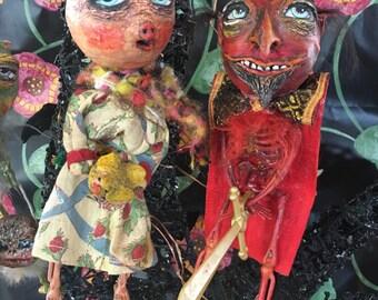 Folk Art Halloween doll ornament Pig skeleton skelly doll