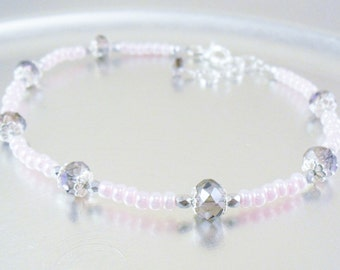 Beaded Ankle Bracelet - Pink Luster and Pink and Purple Crystal Glass Anklet