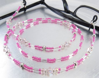 Hot Pink Crystal Glass Eyeglass Lanyard, Eyeglass Leash, Glasses Holder