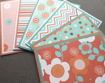 Blank Notecard Set: 6 Different Cards with Matching Embellished Envelopes - Spice Garden