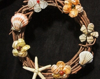 Grapevine and Sea Glass Wreath with Shells and Starfish...Beach Decor