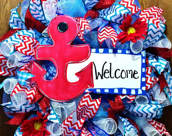 SALE- Anchor Welcome Sign Floral Red White Blue - Door Wreath!