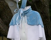 Blue and white elbow length cape Ready to ship
