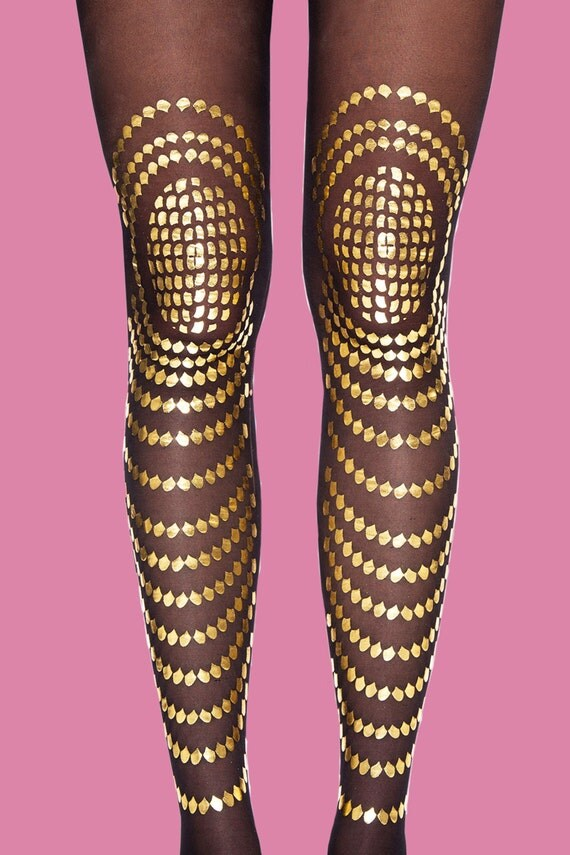 Black & gold tights, Goldfish available in S-M, L-XL gift ideas, gift for girlfriend, for her, holiday gift