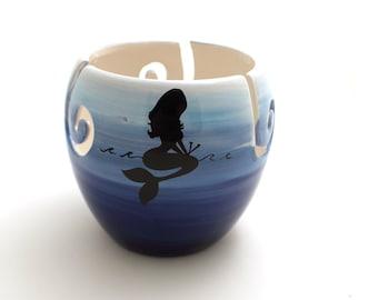 Mermaid yarn bowl, large knit bowl, mermaid knitting on ombre blue nautical ocean ceramic bowl multiple openings