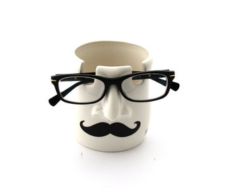 Pencil cup and glasses holder, mustache, you're spectacular, gift for teacher, geek, funny gift, pottery and ceramics