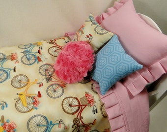 Bedding set for AMERICAN Girl & fits other 18 inch doll dolls bed 5 piece with bedspread pillows bicycle bike Samantha