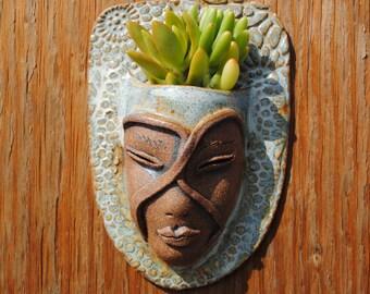 ceramic face planter garden art mask wall planter head planter