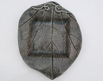 Ceramic dish stoneware plate handmade serving platter table art