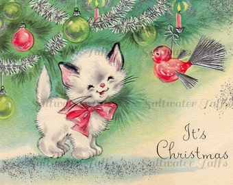 Kitten at Christmas Image Digital Download vintage transfer card holiday xmas christmas card vintage 1950s bird kitty cat ornament tree