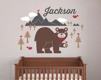 Happy Bear Wall Decal Baby Animal Nursery Wilderness Mountain Theme Boy Girl Name Personalized Kids Woodland Wall Mural Room Decor