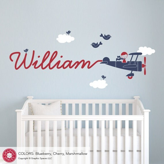 Airplane Name Wall Decal Boy Skywriter Travel Theme Nursery Kids Childrens Room Airplane Wall Sticker