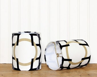 Modern Sconce Shade - Drum Shade - Lampshade - Geometric Lamp Shade - Lamp Shade - Black and Gold - Clip on Shade - Modern Drum Shade