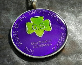 Mardi Gras Token-  Girl Scouts coin pendant - hand painted