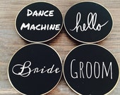 On SALE- 6 Circle {BLANK} Chalkboard Name Tags, Wedding Chalkboard Place Cards, Name Tags for Meetings and Corporate Events, Retail Name Tag
