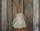 Primitive folk art hand embroidered flat rabbit wired ears HAFAIR ofg faap Lucys Lazy Dayz